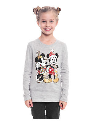 Girls Minnie Mickey Mouse Christmas Long Sleeve Shirt Gray