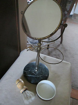 Shaving Mirror on both sides with Green Marble Base, Brush, Dish {no razor]