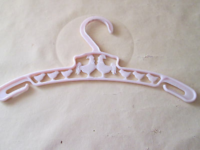 Vintage Child's Pale Pink Plastic Hanger Cut outs { Chickens }