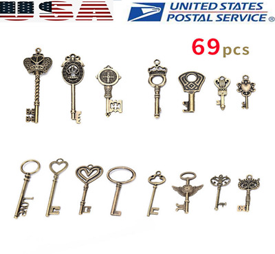 69Ps Antique Vintage Old Look Bronze Skeleton Keys Fancy Heart Bow Pendant Decor