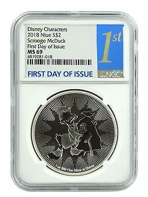 2018 Niue 1oz Silver Scrooge McDuck  NGC MS69 First Day Issue