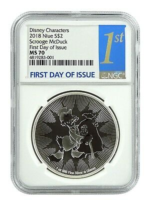 2018 Niue 1oz Silver Scrooge McDuck  NGC MS70 First Day Issue