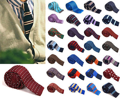 Men's Fashion Colourful Tie Knit Knitted Tie Necktie Narrow Slim Skinny Woven