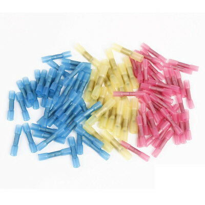 100x Insulated Plastic Heat Shrink Butt Electrical Wire Crimp Terminal Connector