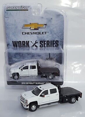 1:64 GreenLight *WHITE* 2018 Chevrolet Silverado 3500 HD DURAMAX DUALLY FLATBED