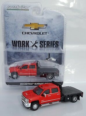 1:64 GreenLight *RED* 2018 Chevrolet Silverado 3500 HD DURAMAX DUALLY FLATBED