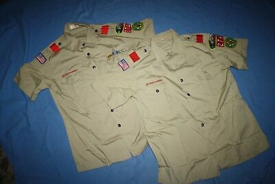 two BSA Boy Scout leader Khaki Uniform SS shirts men L Large Scoutmaster Patches