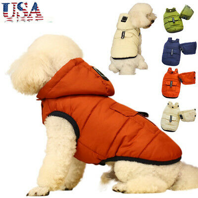 US Pet Dog Hoodie Coat Jacket Puppy Winter Warm Thicken Outwear Clothes Apparel