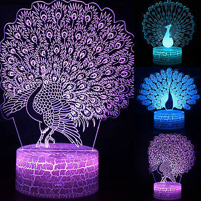 3D LED Illusion Peacock Acrylic 7Color Night Light Touch Table Kids Bedroom Lamp