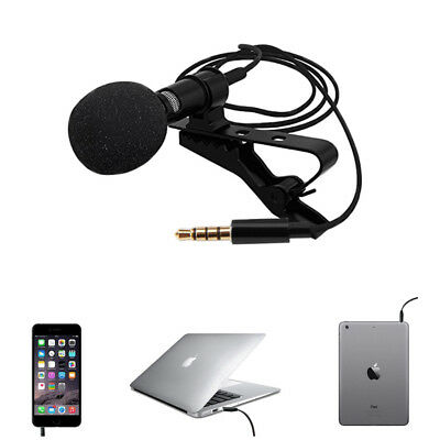 Mini Clip On Lapel Microphone Hands Free Wired Condenser Lavalier Mic 3.5mm