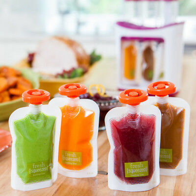 50X Single Use Food Pouch Smoothie Bags Refillable Fresh Storage With Lid
