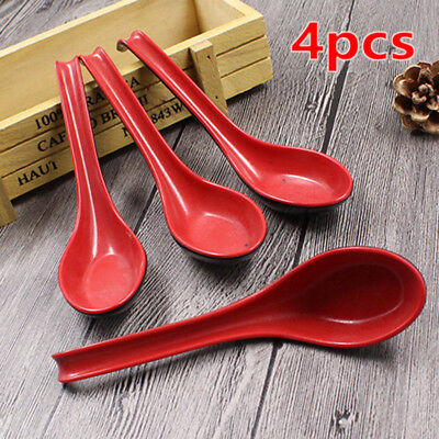 Set Of 4 Black & Red Porridge Bowl Chinese Japanese Noodle Soup Spoons Flatware