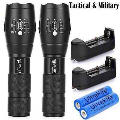 2X Ultrafire Tactical Flashlight T6 High Power Zoom 5 ModesFocus +18650 Battery