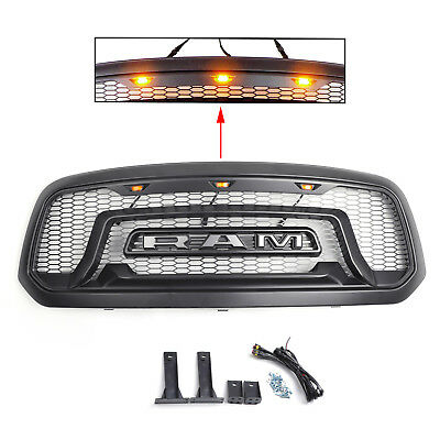 For 13-18 Dodge Ram 1500 Grille ABS Honeycomb Bumper Grill Mesh Rebel Style BLK