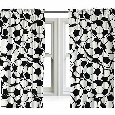 Football Readymade Curtains Black White Kids Bedroom 54 Drop 15 99 Picclick Uk