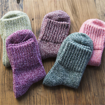 5 Pairs Womens Wool Cashmere Thick Dress Sock Soft Solid Casual Winter Socks