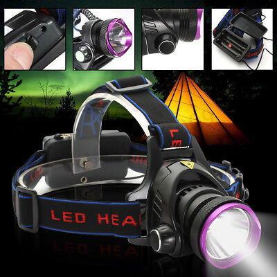 50000LM T6 LED Rechargeable Headlamp Headlight Zoomable 18650 Head Lamp Light