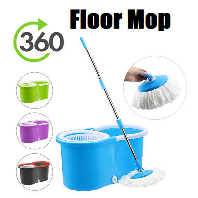 Super Spin Mops 360° Spinning Mop Bucket Set Home Floor Cleaning + 2 Mop Heads