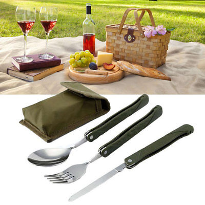 Portable Mini Tableware Set Spoon Fork Blade for Picnic Folding Cutlery New
