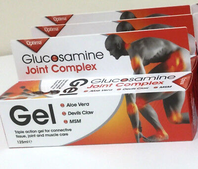 3x Glucosamine Joint Complex Gel 125ml Devils Claw - Optima