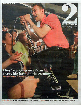 The Times Newspaper Supplement 26 June 2009 . Blur Damon Albarn Front Cover
