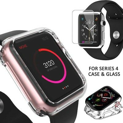 For Apple Watch iWatch Series 4 Soft Clear Case Cover+ Tempered Glass 40/44MM DO