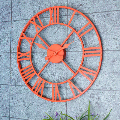 Vintage Classic Large Metal Iron Wall Clock Rustic Roman Numerals Home Decor