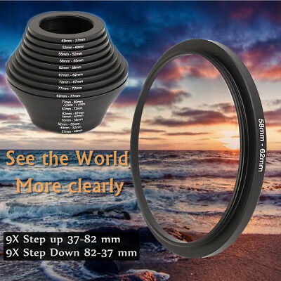 18pcs Camera Lens Filter Step Up & Down Ring Adapter Set for Cameras 37-82mm