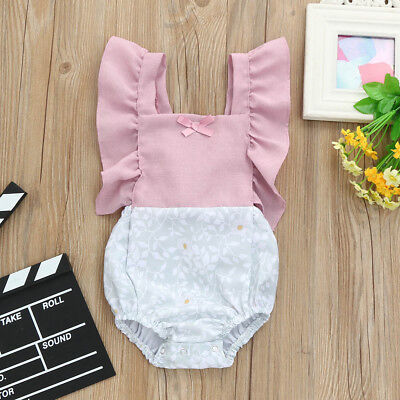 UK Newborn Infant Baby Romper Girls Floral Ruffle Patchwork Jumpsuit Outfits KW