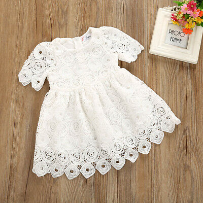 UK Kids Baby Girls Floral Lace Short Sleeve Princess Formal Party Dress Outfits
