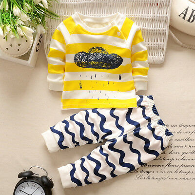 Baby Boys Girls Kid Toddler Long Sleeve T Shirt Tops+Pants Clothes Outfit Set KW