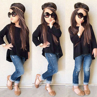 2PCS Toddler Kids Baby Girl Outfit Clothes Long Sleeve Shirt Tops+Jeans Pants KW
