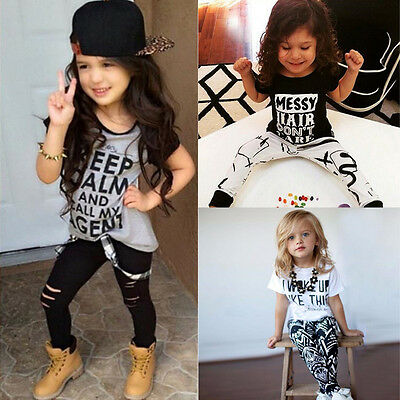 2PCS Child Kids Baby Toddler Girls Outfit Clothes T-shirt Tops+Long Pants Set KW