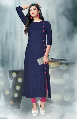 Navy Blue Indian Bollywood Kurta Kurti Designer Women Ethnic Tunic Pakistani New