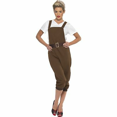Brown WW2 Land Girl 1940's Wartime Historical Womens Ladies Fancy Dress Costume