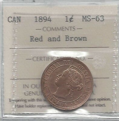**1894**, ICCS Graded Canadian, Large One Cent, **MS-63**