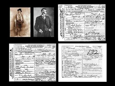 Billy the Kid PHOTO +DEATH CERTIFICATE Lot, Gang of REGULATORS + Pat Garrett Pic