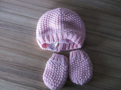 Baby Girls Pink Hat and Mittens age 3-6 Months from George