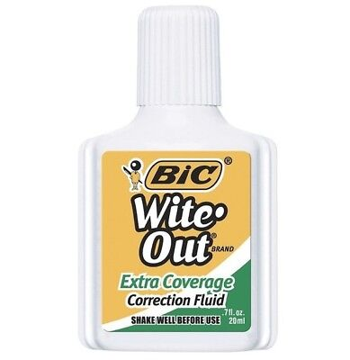 BIC Wite-Out Extra Coverage Correction Fluid, 20 ml Bottle, White