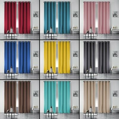 Pair of Occult Plain Blackout Eyelet Curtains 240cm Drop - Assorted Colours