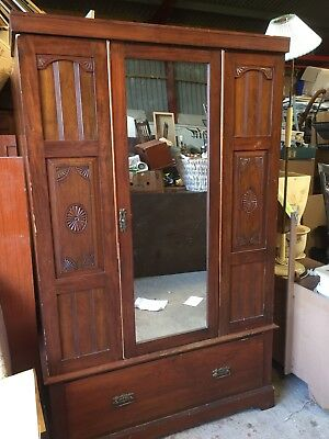 Antique Vintage Double Wardrobe Armoire Carved Detail    23/10/B