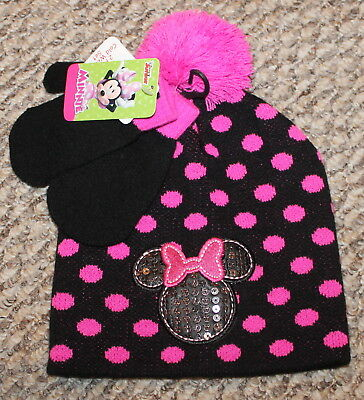 New! Toddler Girls Minnie Mouse Mittens/Hat Set (Polka Dot) - One Size 2T-3T-4T