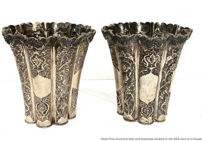 Rare Antique Indo Persian Fine Silver Ornate Repousse Huge Pair Vases