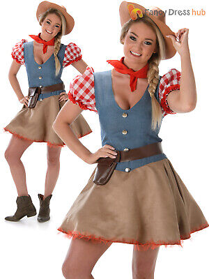 Ladies Rodeo Costume Adults Cowgirl Western Fancy Dress Womens Wild West Outfit