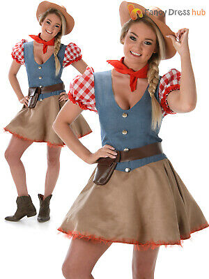 Ladies Rodeo Dolly Costume Cowgirl Western Fancy Dress Womens Wild West Outfit