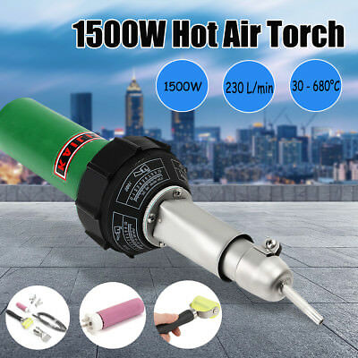 1500W Hot Air Torch Plastic Welding Gun Welder Pistol+ 4pcs Speed Nozzle +Roller