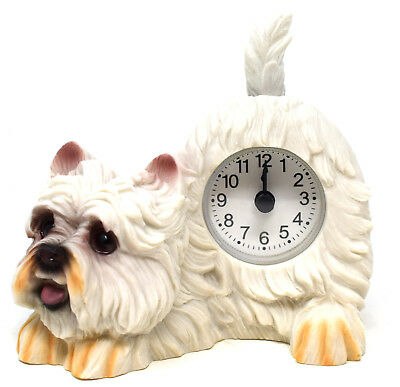 White West Highland Terrier Dog Mantel Clock Wagging Tail Pendulum Gift Ornament