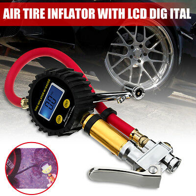LCD Air Tire Digital Tyre Inflator High Accurate Pressure Gauge With Dual Chuck
