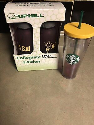 Starbucks ASU Cold Cup Tumbler Acrylic 24 fl oz With 2pack Uphill Hydration Cups