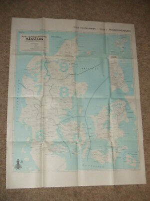 RARE 1972 Denmark Postal Mail Zone Map Post Telegraph Cards + Nordic Country Map